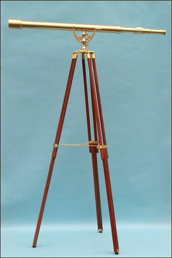 "44"" Clear Coated Brass Harbormaster Telescope on Tripod w/Arc Mount"