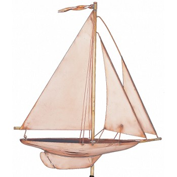 Polished Copper Sailing Yacht Weathervane