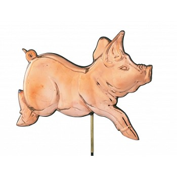 Polished Copper Romping Pig Weathervane