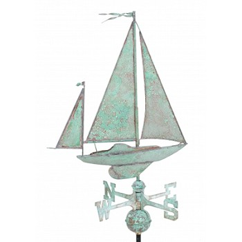 Antique Copper Sailboat Weathervane