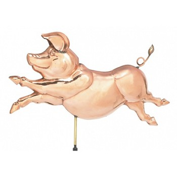 Polished Copper Jumping Pig Weathervane