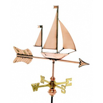 Polished Copper Sailboat Cottage Size Weathervane