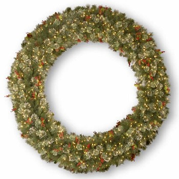 72 In. Wintry Pine Christmas Wreath w/ Snowflakes & 400 Clear Lights