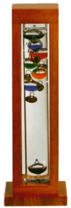 "15"" Galileo Thermometer in Natural Square Stand"