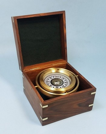 Small Brass Gimbaled Modern Sailboat Compass w/ Hardwood Case