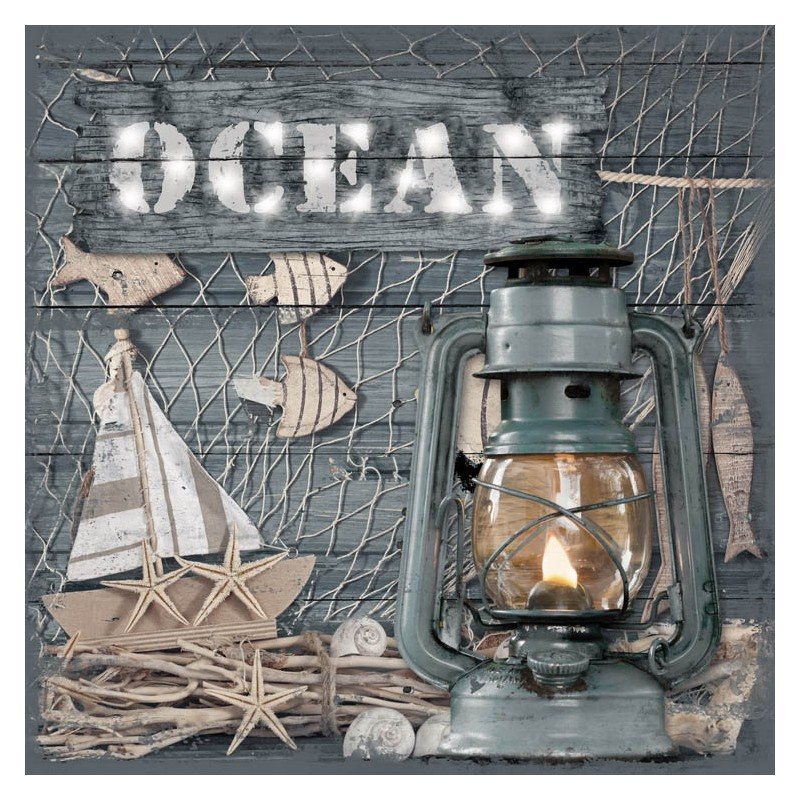 3D Canvas Ocean Sign w/ LED Lantern