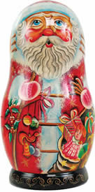 Artistic Wood Carved Russian Matreshka Santa Claus Doll Sculpture