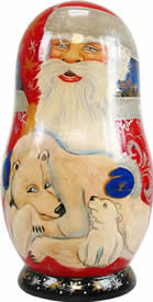 Artistic Wood Carved Russian Matreshka Santa Claus & Polar Bear Doll