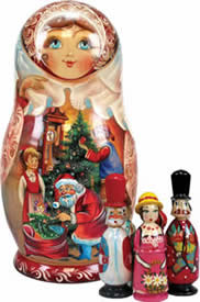 Wood Carved Russian Matreshka Santa Claus Night Before Christmas Doll