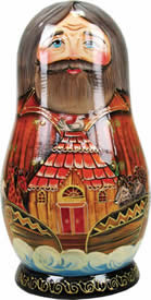 Artistic Wood Carved Russian Matreshka Noah's Ark Doll Sculpture