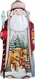Artistic Wood Carved Santa Claus Waking Grizzlies Sculpture