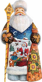 Artistic Wood Carved Santa Claus Midnight Delivery Sculpture