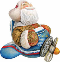 Fly Me to the Moon Santa Claus Artistic Wood Carved Sculpture