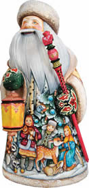 Artistic Wood Carved Santa Claus Lighting Way Sculpture