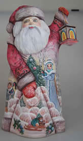 Artistic Wood Carved Santa Claus Lamplighter Sculpture