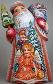 Artistic Wood Carved Santa Claus and Little Angel Sculpture