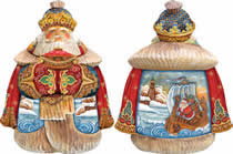 Artistic Wood Carved Santa Claus Holiday Voyage Sculpture