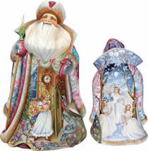 To the Land of Snow Santa Claus Artistic Wood Carved Sculpture
