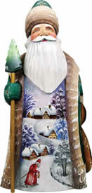 Artistic Wood Carved First Light Santa Claus Sculpture