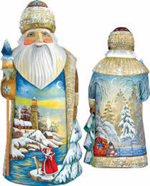 Artistic Wood Carved Winter Beacon Santa Claus Sculpture
