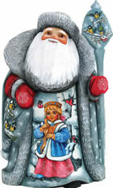 Artistic Wood Carved Santa Claus One With Nature Sculpture