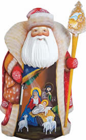 Artistic Wood Carved Santa Claus Message of Faith Nativity Sculpture