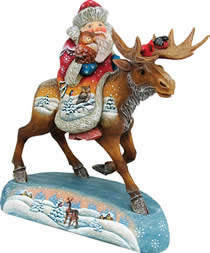 Artistic Wood Carved Santa Claus on Moose Sculpture