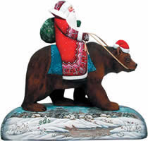 Grizzly Bear Santa Claus Artistic Wood Carved Sculpture