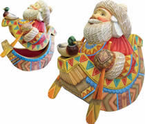 Paddle Express Santa Claus Artistic Wood Carved Sculpture