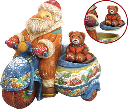 Santa Claus on Motorbike Artistic Wood Carved Sculpture