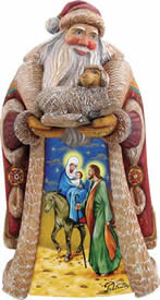Santa Claus Gentle Journey Holy Family Nativity Wood Carved Sculpture