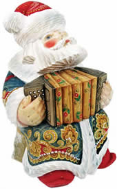 Musician Accordian Santa Claus Artistic Wood Carved Sculpture