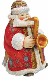 Musician Jazzman Santa Claus Artistic Wood Carved Sculpture