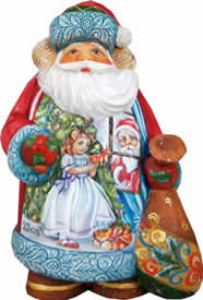 Artistic Wood Carved Santa Is Coming Sculpture