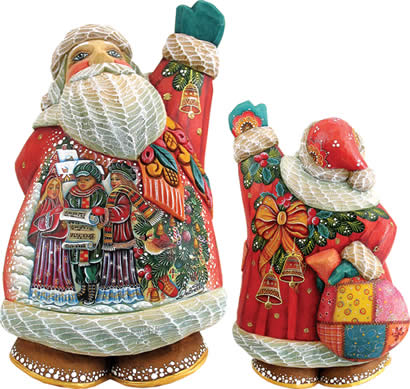 Artistic Wood Carved Christmas Chorus Santa Claus Sculpture