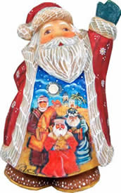 Artistic Wood Carved Santa Claus Three Kings Nativity Sculpture