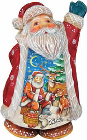 Artistic Wood Carved Deer Friend Santa Claus Sculpture