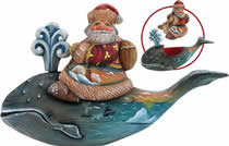 Artistic Wood Carved Santa Claus on Whale Sculpture