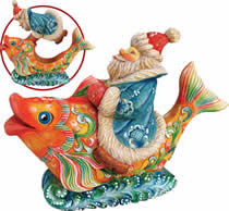 Artistic Wood Carved Santa Claus on Rainbow Fish Sculpture