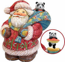 Artistic Wood Carved Santa Claus with Panda Sculpture