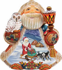 Artistic Wood Carved Northern Express Santa Claus Sculpture