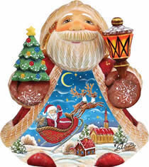 Artistic Wood Carved Night Before Christmas Santa Claus Sculpture