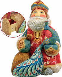 Islander Peacock Santa Claus Artistic Wood Carved Sculpture