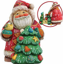 Artistic Wood Carved Santa Claus with Christmas Tree Sculpture