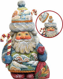 Artistic Wood Carved Santa Claus with Snowman Sculpture
