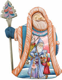 Artistic Wood Carved Lands of Sweets Santa Claus Sculpture