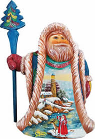 Artistic Wood Carved Santa's Lookout Sculpture