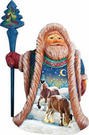 Artistic Wood Carved Santa Claus w/ Snow Horses Sculpture