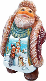 Artistic Wood Carved Santa Looking Up w/ Snowman Sculpture