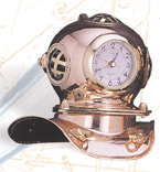 Polished Brass Quartz Dive Helmet Clock